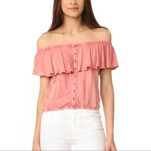 NWT We The Free Coral Off The Shoulder Cropped Top